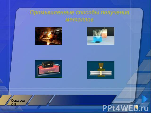 Промышленные способы получения металлов