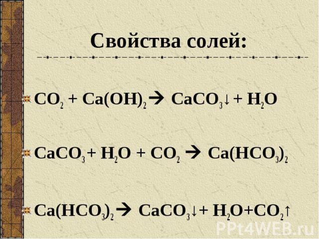 Свойства солей: СО2 + Са(ОН)2 СаСО3↓ + Н2О СаСО3 + Н2О + СО2 Са(НСО3)2 Са(НСО3)2 СаСО3↓+ Н2О+СО2↑