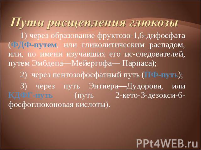 1) через образование фруктозо-1,6-дифосфата (ФДФ-путем, или гликолитическим распадом, или, по имени изучавших его исследователей, путем Эмбдена—Мейергофа— Парнаса); 1) через образование фруктозо-1,6-дифосфата (ФДФ-путем, или гликолитическим рас…