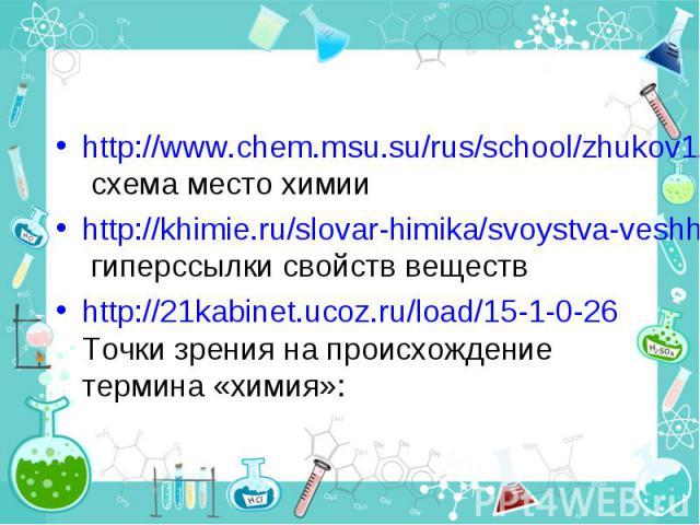 http://www.chem.msu.su/rus/school/zhukov1/01.html схема место химии http://khimie.ru/slovar-himika/svoystva-veshhestva гиперссылки свойств веществ http://21kabinet.ucoz.ru/load/15-1-0-26 Точки зрения на происхождение термина «химия»: