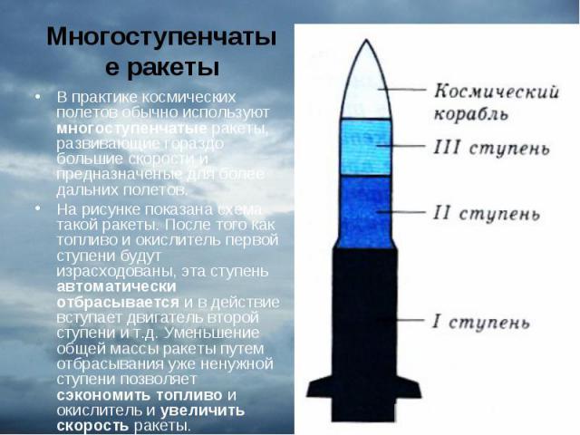 В практике космических полетов обычно используют многоступенчатые ракеты, развивающие гораздо большие скорости и предназначеные для более дальних полетов. В практике космических полетов обычно используют многоступенчатые ракеты, развивающие гораздо …