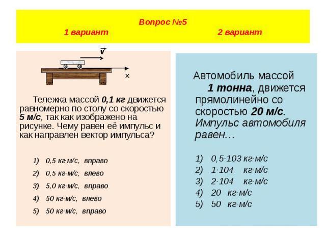 Вопрос №5 1 вариант 2 вариант Тележка массой 0,1 кг движется равномерно по столу со скоростью 5 м/с, так как изображено на рисунке. Чему равен её импульс и как направлен вектор импульса? 1) 0,5 кг·м/с, вправо 2) 0,5 кг·м/с, влево 3) 5,0 кг·м/с, впра…