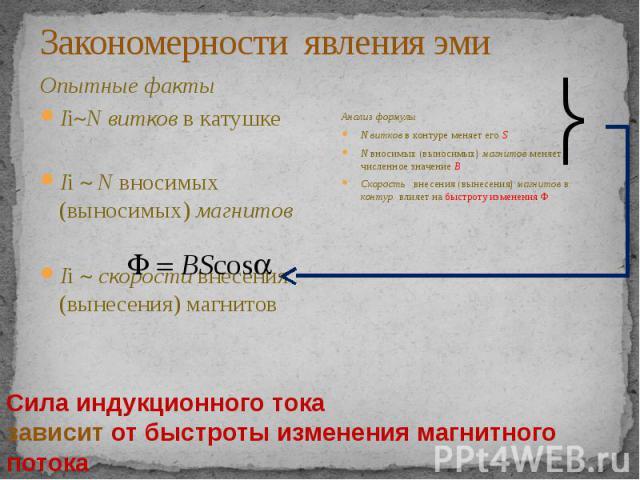Закономерности явления эми Опытные факты Ii N витков в катушке Ii N вносимых (выносимых) магнитов Ii скорости внесения (вынесения) магнитов