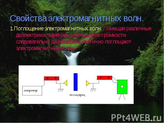 Свойства электромагнитных волн. 1.Поглощение электромагнитных волн. Помещая различные диэлектрики, замечаем уменьшение громкости следовательно диэлектрики частично поглощают электромагнитные волны.