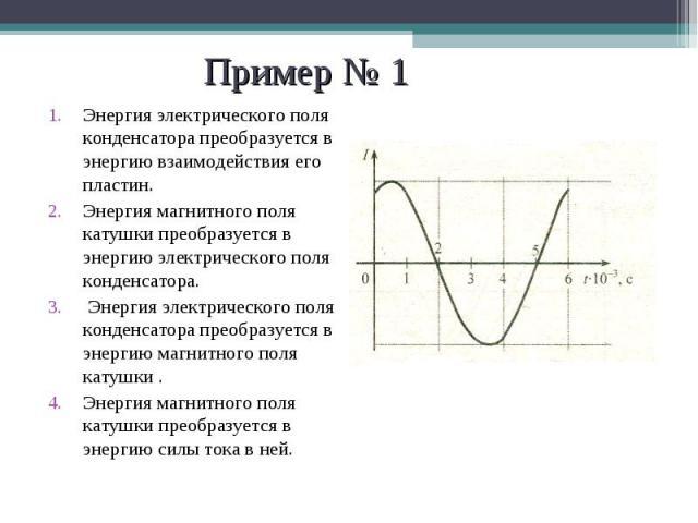 Энергия электрического поля конденсатора преобразуется в энергию взаимодействия его пластин. Энергия электрического поля конденсатора преобразуется в энергию взаимодействия его пластин. Энергия магнитного поля катушки преобразуется в энергию электри…