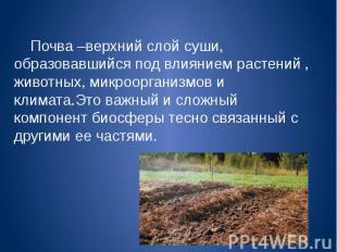 Почва –верхний слой суши, образовавшийся под влиянием растений , животных, микро