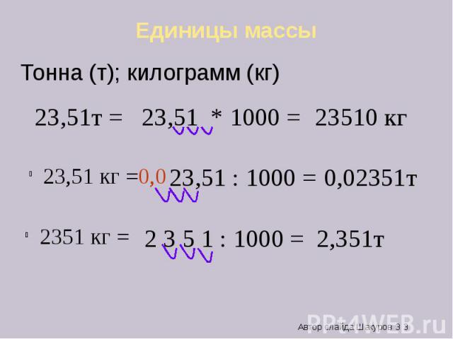 Единицы массы 23,51т =