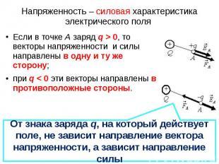 Если в точке А заряд q > 0, то векторы напряженности и силы направлены в одну