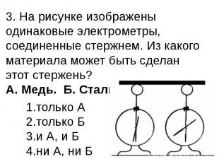 3. На рисунке изображены одинаковые электрометры, соединенные стержнем. Из каког