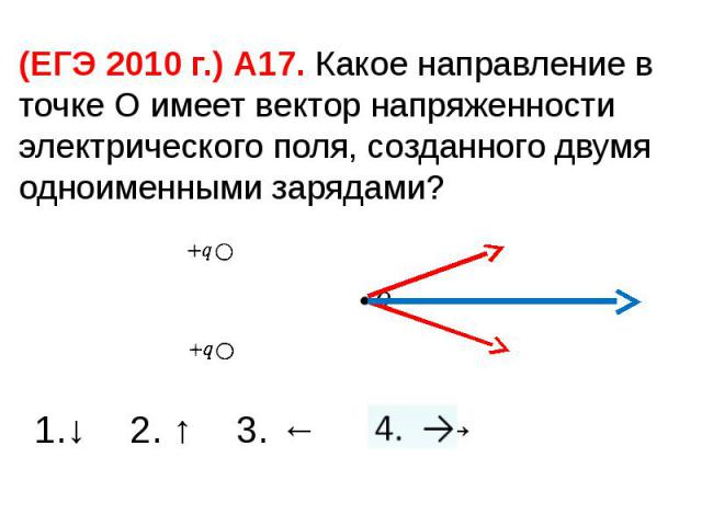 (ЕГЭ 2010 г.) А17. Какое направление в точке О имеет вектор напряженности электрического поля, созданного двумя одноименными зарядами? 1.↓ 2. ↑ 3. ← 4. →