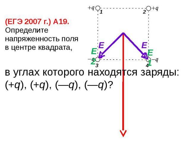 (ЕГЭ 2007 г.) А19. Определите напряженность поля в центре квадрата,