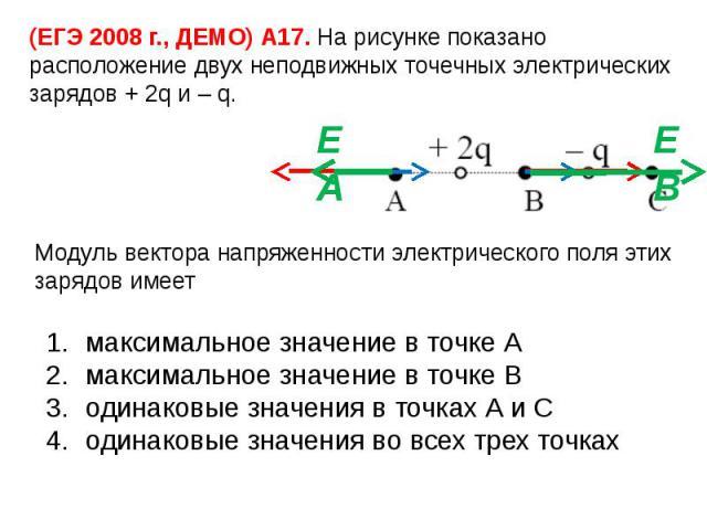 (ЕГЭ 2008 г., ДЕМО) А17. На рисунке показано расположение двух неподвижных точечных электрических зарядов + 2q и – q.