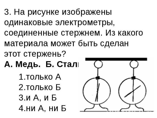 3. На рисунке изображены одинаковые электрометры, соединенные стержнем. Из какого материала может быть сделан этот стержень? А. Медь. Б. Сталь.