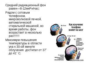 Средний радиационный фон равен—8-12мкРн/час; Средний радиационный фон равен—8-12