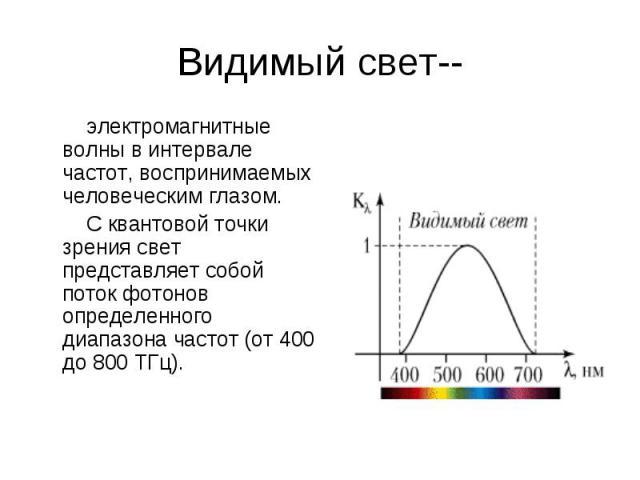 электромагнитные волны в интервале частот, воспринимаемых человеческим глазом. электромагнитные волны в интервале частот, воспринимаемых человеческим глазом. С квантовой точки зрения свет представляет собой поток фотонов определенного диапазона част…