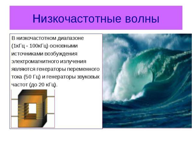 В низкочастотном диапазоне В низкочастотном диапазоне (1кГц-100кГц) основными источниками возбуждения электромагнитного излучения являются генераторы переменного тока (50Гц) и генераторы звуковых частот (до 20кГц).