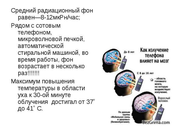 Средний радиационный фон равен—8-12мкРн/час; Средний радиационный фон равен—8-12мкРн/час; Рядом с сотовым телефоном, микроволновой печкой, автоматической стиральной машиной, во время работы, фон возрастает в несколько раз!!!!!!! Максимум повышения т…