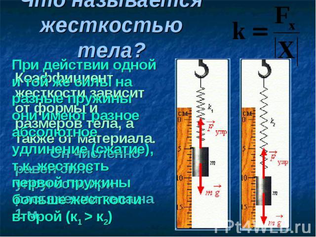 Коэффициент жесткости зависит от формы и размеров тела, а также от материала. Он численно равен силе упругости при растяжении тела на 1 м. Коэффициент жесткости зависит от формы и размеров тела, а также от материала. Он численно равен силе упругости…