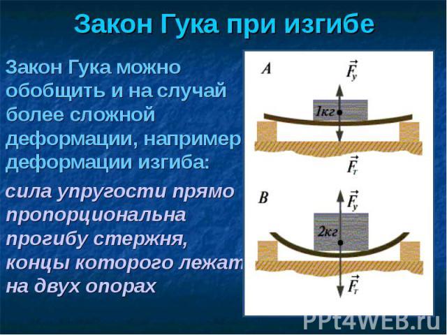 Закон Гука можно обобщить и на случай более сложной деформации, например, деформации изгиба: Закон Гука можно обобщить и на случай более сложной деформации, например, деформации изгиба: сила упругости прямо пропорциональна прогибу стержня, концы кот…