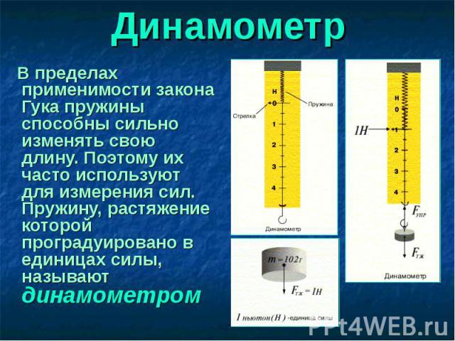 В пределах применимости закона Гука пружины способны сильно изменять свою длину. Поэтому их часто используют для измерения сил. Пружину, растяжение которой проградуировано в единицах силы, называют динамометром В пределах применимости закона Гука пр…