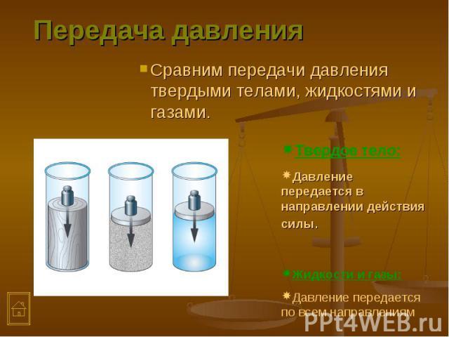 Сравним передачи давления твердыми телами, жидкостями и газами. Сравним передачи давления твердыми телами, жидкостями и газами.