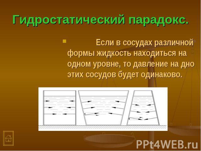 Если в сосудах различной формы жидкость находиться на одном уровне, то давление на дно этих сосудов будет одинаково. Если в сосудах различной формы жидкость находиться на одном уровне, то давление на дно этих сосудов будет одинаково.