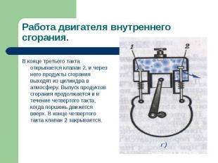 В конце третьего такта открывается клапан 2, и через него продукты сгорания выхо