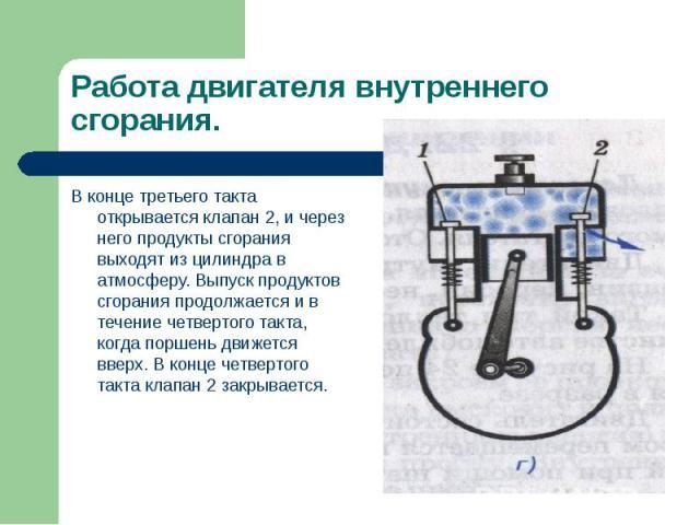 В конце третьего такта открывается клапан 2, и через него продукты сгорания выходят из цилиндра в атмосферу. Выпуск продуктов сгорания продолжается и в течение четвертого такта, когда поршень движется вверх. В конце четвертого такта клапан 2 закрыва…