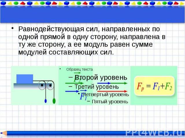 Равнодействующая сил, направленных по одной прямой в одну сторону, направлена в ту же сторону, а ее модуль равен сумме модулей составляющих сил. Равнодействующая сил, направленных по одной прямой в одну сторону, направлена в ту же сторону, а ее моду…