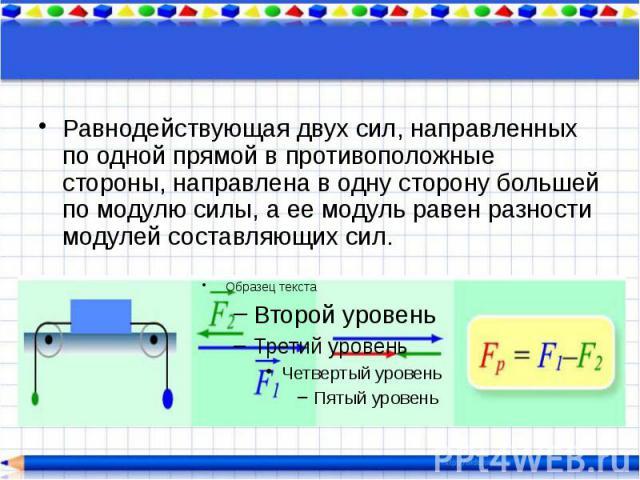 Равнодействующая двух сил, направленных по одной прямой в противоположные стороны, направлена в одну сторону большей по модулю силы, а ее модуль равен разности модулей составляющих сил. Равнодействующая двух сил, направленных по одной прямой в проти…