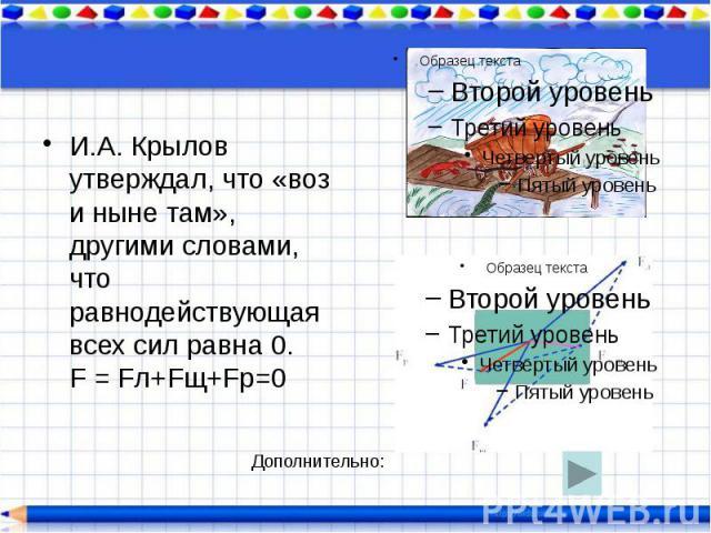 И.А. Крылов утверждал, что «воз и ныне там», другими словами, что равнодействующая всех сил равна 0. F = Fл+Fщ+Fр=0 И.А. Крылов утверждал, что «воз и ныне там», другими словами, что равнодействующая всех сил равна 0. F = Fл+Fщ+Fр=0