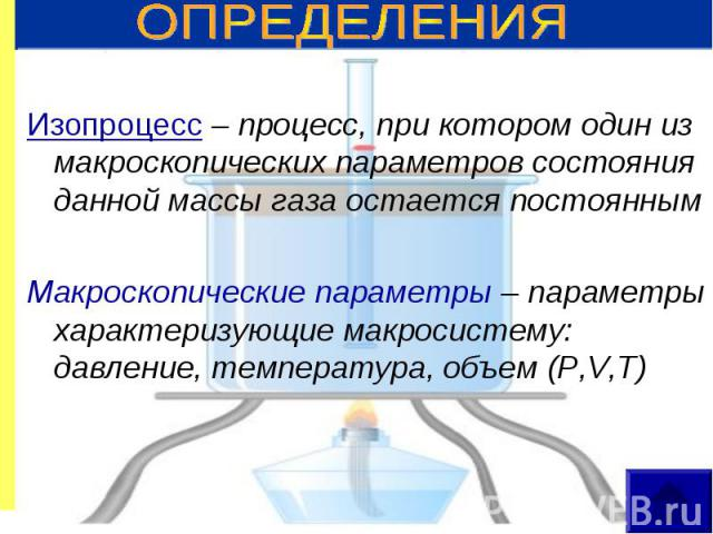 Изопроцесс – процесс, при котором один из макроскопических параметров состояния данной массы газа остается постоянным Макроскопические параметры – параметры характеризующие макросистему: давление, температура, объем (P,V,T)