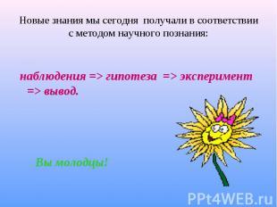 наблюдения => гипотеза => эксперимент => вывод. Вы молодцы!