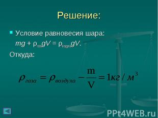 Условие равновесия шара: Условие равновесия шара: mg + ρгазаgV = ρвоздухаgV. Отк