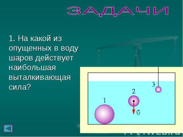 1. На какой из опущенных в воду шаров действует наибольшая выталкивающая сила? 1. На какой из опущенных в воду шаров действует наибольшая выталкивающая сила?