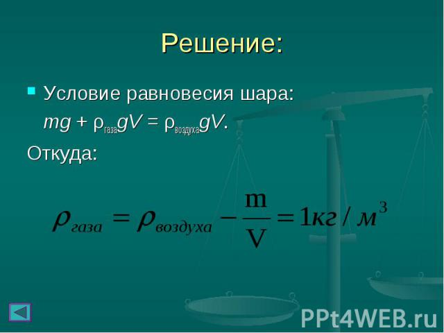 Условие равновесия шара: Условие равновесия шара: mg + ρгазаgV = ρвоздухаgV. Откуда: