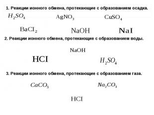 1. Реакции ионного обмена, протекающие с образованием осадка. 1. Реакции ионного