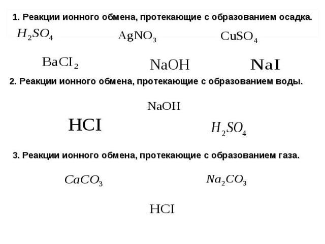 1. Реакции ионного обмена, протекающие с образованием осадка. 1. Реакции ионного обмена, протекающие с образованием осадка.