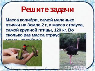 Решите задачи Масса колибри, самой маленько птички на Земле 2 г, а масса страуса