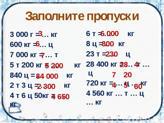 Заполните пропуски 3 000 г = … кг 600 кг = … ц 7 000 кг = … т 5 т 200 кг = … кг 840 ц = … кг 2 т 3 ц = … кг 4 т 6 ц 50кг = … кг