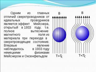 Одним из главных отличий сверхпроводников от идеальных проводников является&nbsp
