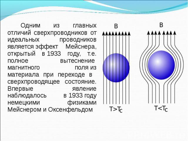 Одним из главных отличий сверхпроводников от идеальных проводников являетсяэффект Мейснера, открытый в1933 году, т.е. полное вытеснение магнитного поляиз материала при переходе в сверхпроводящее состояние. Впервые явление наб…