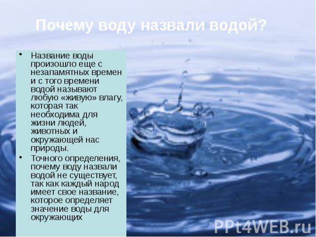 Название воды произошло еще с незапамятных времен и с того времени водой называют любую «живую» влагу, которая так необходима для жизни людей, животных и окружающей нас природы. Название воды произошло еще с незапамятных времен и с того времени водо…