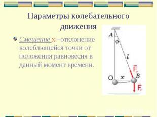 Параметры колебательного движения Смещение х –отклонение колеблющейся точки от п