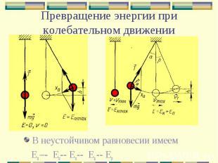 Превращение энергии при колебательном движении В неустойчивом равновесии имеем Е