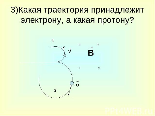 3)Какая траектория принадлежит электрону, а какая протону?