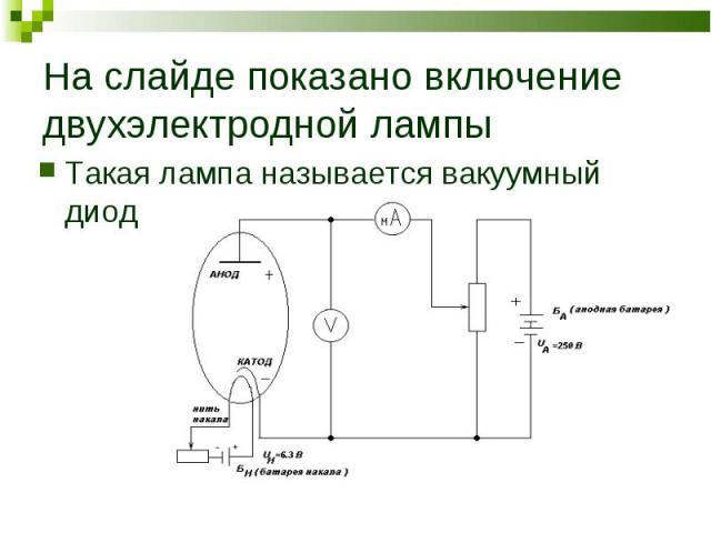 Такая лампа называется вакуумный диод Такая лампа называется вакуумный диод