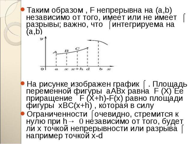 Таким образом , F непрерывна на (a,b) независимо от того, имеет или не имеет ʄ разрывы; важно, что ʄ интегрируема на (a,b) Таким образом , F непрерывна на (a,b) независимо от того, имеет или не имеет ʄ разрывы; важно, что ʄ интегрируема на (a,b) На …