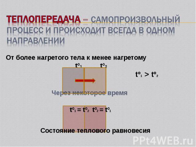 От более нагретого тела к менее нагретому От более нагретого тела к менее нагретому tº1 tº2 tº1 > tº2 Через некоторое время tº1 = tº2 tº2 = tº1 Состояние теплового равновесия