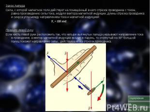 Закон Ампера Закон Ампера Сила, с которой магнитное поле действует на помещённый